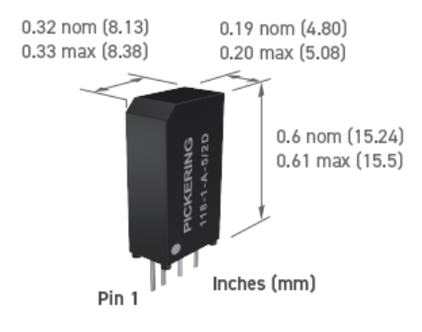 Pickering Series 118 Reed Relay Dimension